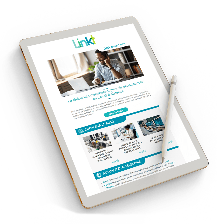 Mockup newsletter Linkt sur tablette